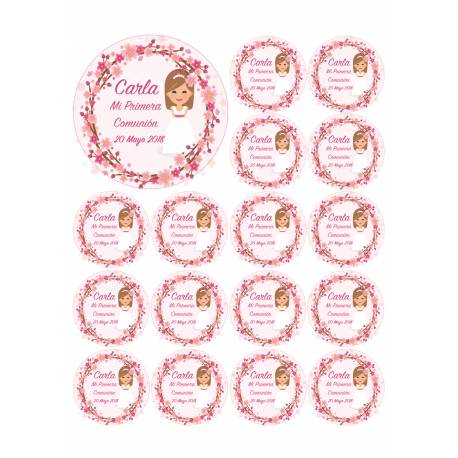 Niñas de comunión - Impresiones en papel comestible - Galletas.