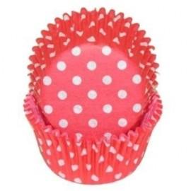 Cápsulas mini cupcakes Rojo con lunares. 100 uds