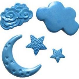 Molde de silicona luna, nubes y estrellas